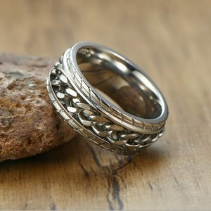 ⚜️New⚜️ Men's 8mm Silver Spinning Chain Ring